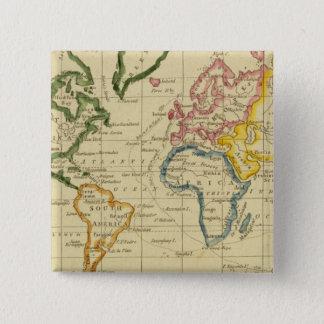 World engraved map 15 cm square badge