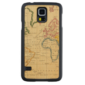 World engraved map carved maple galaxy s5 case