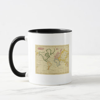 World engraved map mug