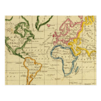 World engraved map postcard