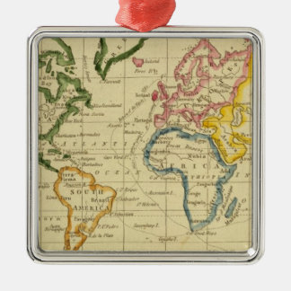 World engraved map Silver-Colored square decoration