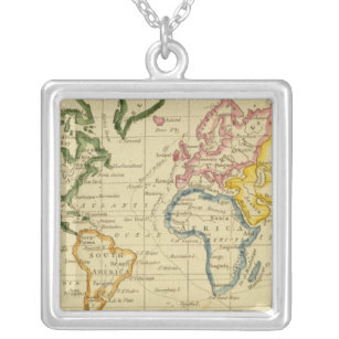 World map necklaces lockets zazzle world engraved map silver plated necklace freerunsca Gallery