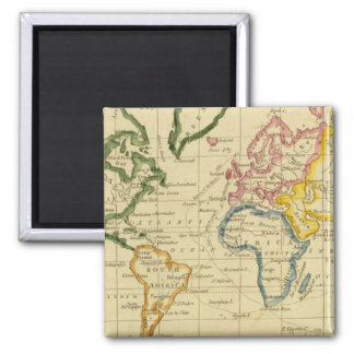 World engraved map square magnet