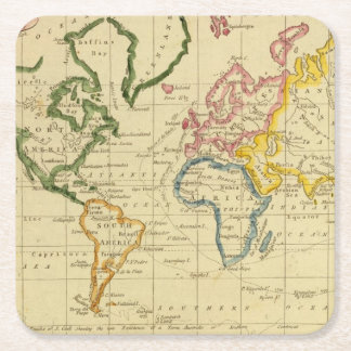 World engraved map square paper coaster
