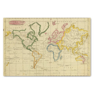 World engraved map tissue paper