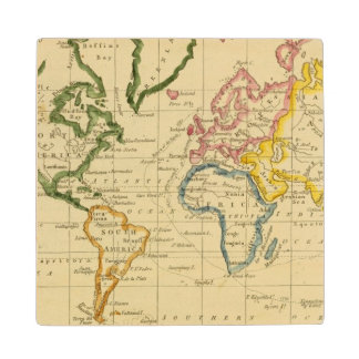 World engraved map wood coaster