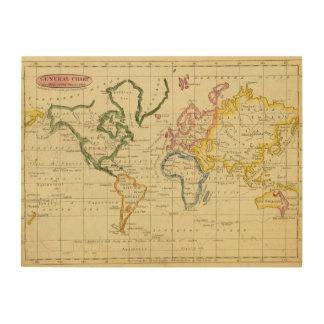 World engraved map wood print