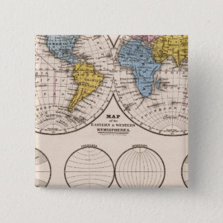 World Equatorial Projection and Polar Projection 15 Cm Square Badge