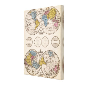 World Equatorial Projection and Polar Projection Canvas Print