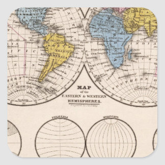 World Equatorial Projection and Polar Projection Stickers