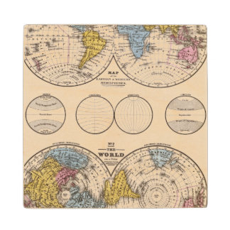World Equatorial Projection and Polar Projection Wood Coaster