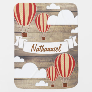 World Explorer Red Hot Air Balloons & Rustic Wood Swaddle Blankets