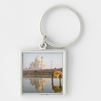 World famous Taj Mahal temple burial site at Silver-Colored Square Key Ring