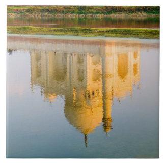 World famous Taj Mahal temple reflection at Tile