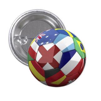 World Flag on Soocer Ball 3 Cm Round Badge