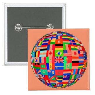 WORLD FLAGS 15 CM SQUARE BADGE