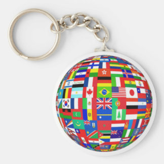 WORLD FLAGS BASIC ROUND BUTTON KEY RING