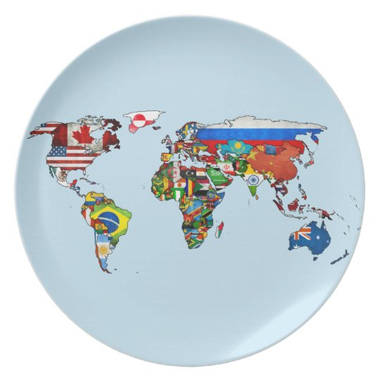 World Flags Map Plate