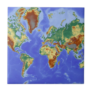 World Geographic International Map Small Square Tile