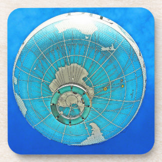 World Globe Balloon and Deep Blue Sky Drink Coaster
