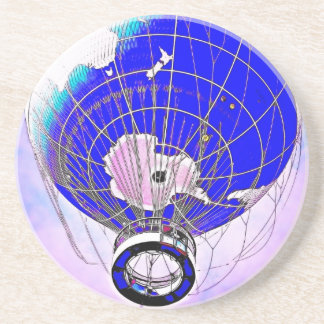 World Globe Balloon and Pink Hue Sky Beverage Coaster