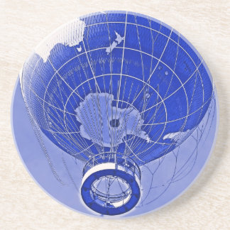 World Globe Balloon in Blue Drink Coaster