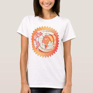 World, globe, continents. Orange and white T-Shirt