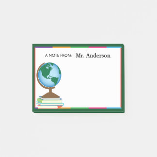 World Globe on Stack of Books Personalized Teacher Post-it® Notes