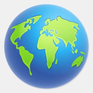 World Globe Round Sticker