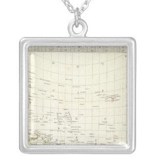 World, gnomonic proj III Polynesia Silver Plated Necklace