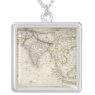 World, gnomonic proj IV Asia Silver Plated Necklace