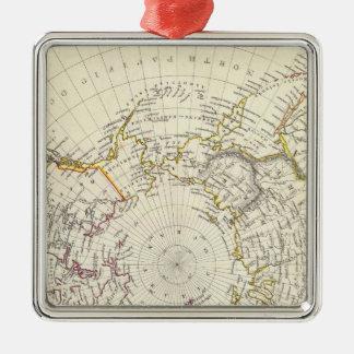 World, gnomonic proj V North Pole 45 N Lat Christmas Ornament