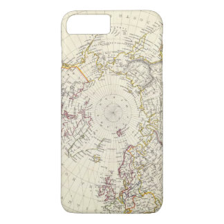 World, gnomonic proj V North Pole 45 N Lat iPhone 8 Plus/7 Plus Case