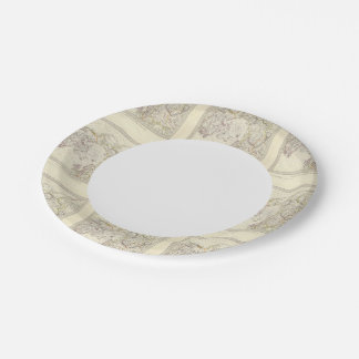 World, gnomonic proj V North Pole 45 N Lat Paper Plate