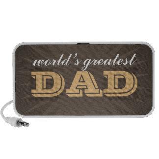 World greatest dad western style brown starburst mini speakers