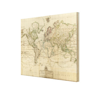 World Hand Colored map Canvas Print