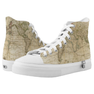 World Hand Colored map Printed Shoes