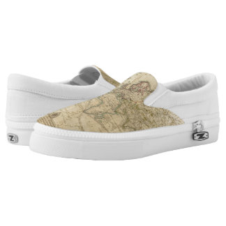 World Hand Colored map Slip-On Shoes