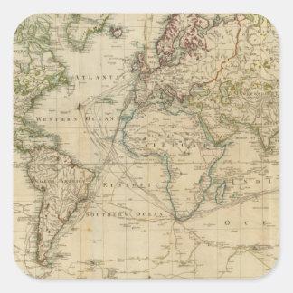 World Hand Colored map Square Sticker