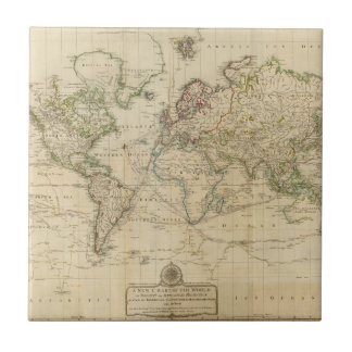 World Hand Colored map Tile