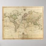 World Hand Coloured map
