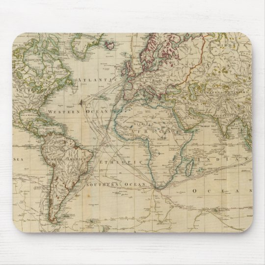 World Hand Coloured map Mouse Mat