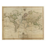 World Hand Coloured map Poster