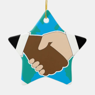 World Hand Shake Ceramic Star Decoration
