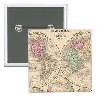World hemispheres  Map by Mitchell 15 Cm Square Badge