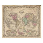 World hemispheres  Map by Mitchell Poster