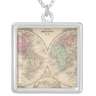 World hemispheres  Map by Mitchell Silver Plated Necklace
