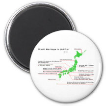 World Heritage in JAPAN 6 Cm Round Magnet