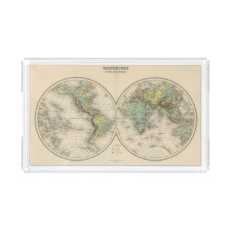 World hypsometric maps acrylic tray