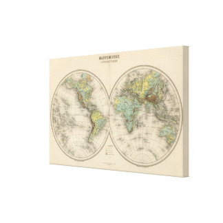 World hypsometric maps canvas print